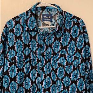Wrangler Western Shirt Vintage Blue Black Purple